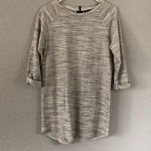 Grey Tunic Shirt w/ 3/4 Sleeves - Topshop
